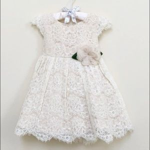 Rare Editions Sequin Ivory Lace Dress 2T